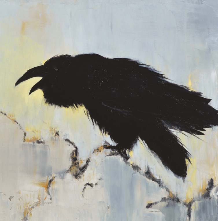 Mark White's crows and ravens paintings